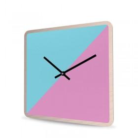 Wall Clock Wood Square Cut