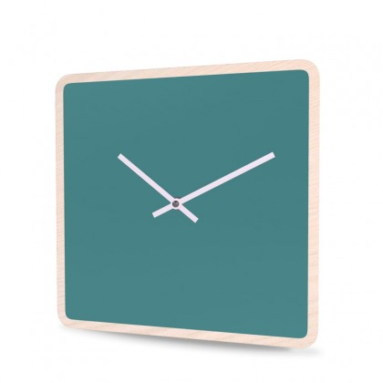 Wall Clock Wood Square Unicolor